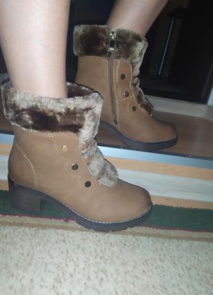 Шикарные ботиночки на меху. зимние женские сапожки.на широкую нож