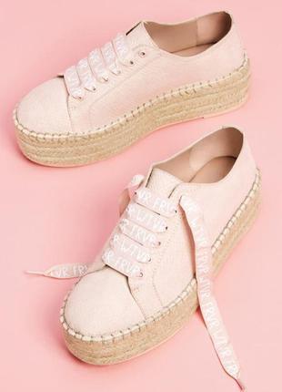Криперы мокасины кеды розовые туфли высокая плетеная подошва п...