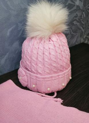 Детский зимний набор шапка шарф зимняя шапочка