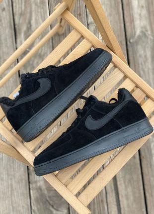 Кроссовки Nike Air Force Black (мех)