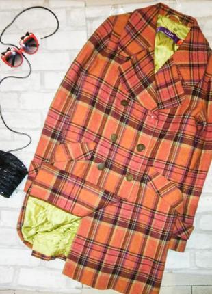 Шикарное утепленное пальто принт клетка