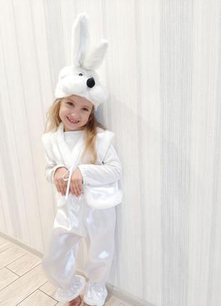 Новогодний детский карнавальный костюм белого Зайчика