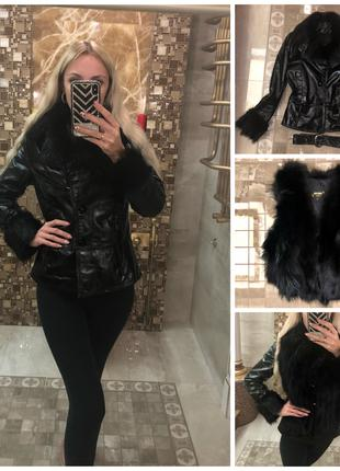 Кожаная тёплая Куртка, жилет из Чернобурки