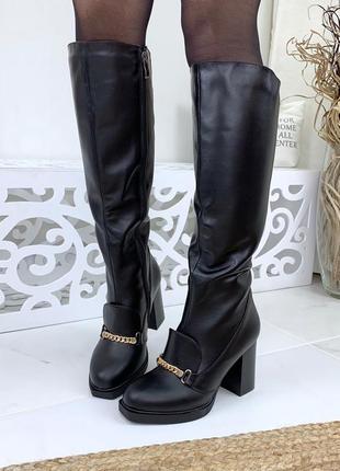Натуральная кожа осенние кожаные сапоги на устойчивом каблуке ...