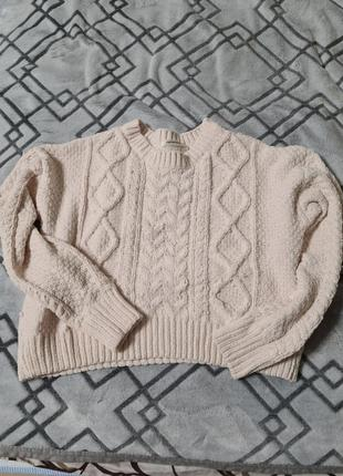 Кроп-свитер terranova терранова белый (эркю) велюровый м