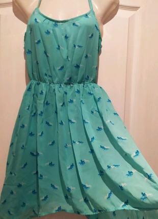 Мятное, шифоновое платье Бершка/ Bershka