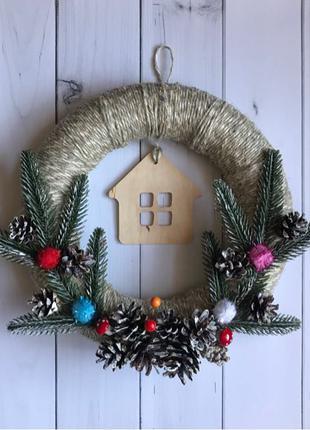 Рождественский венок, новогодний декор, подарок на Новый год
