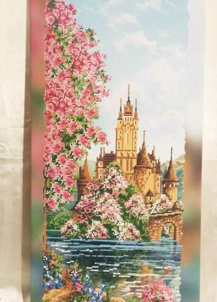 Холст = Замок= на подрамнике для вышивки бисером 29 х 60 см.