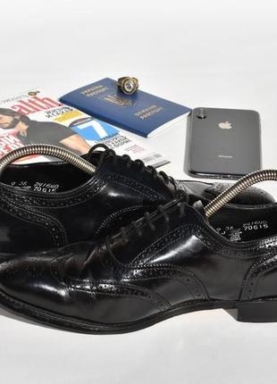 Мужские туфли броги с перфорацией черные кожаные размер 42