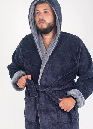 Мужской халат махровый, длинный серого цвета