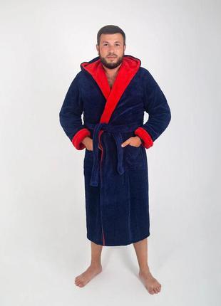 Мужской халат махровый, длинный синего цвета