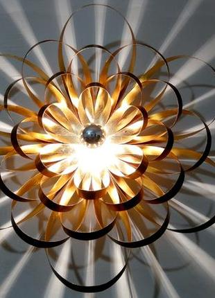Эксклюзивный дизайнерский настенный светильник Георгина, дерево+п