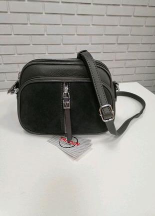 Маленькая кожаная женская сумка серая