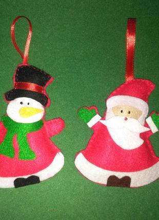 Елочная игрушка из фетра, новогоднее украшение на елку