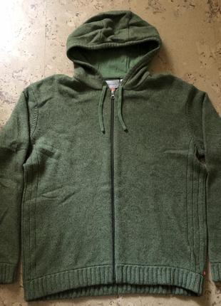 Кофта свитер на молнии с капюшоном толстовка шерстяная тёплая ...