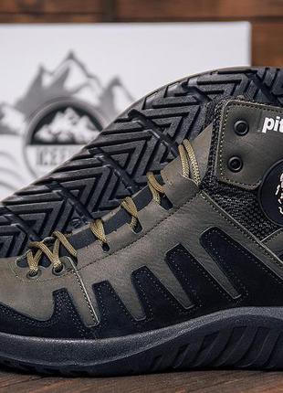 Мужские зимние кожаные ботинки pitbull olive