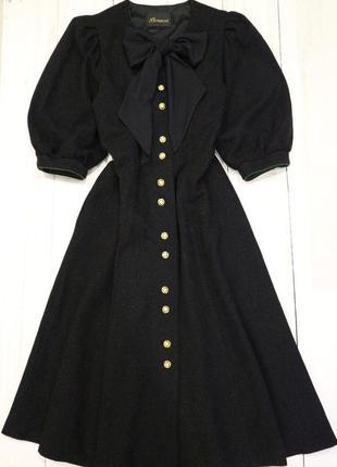 Длинное платье на пуговицах пышные рукава шерсть винтаж, l-xl