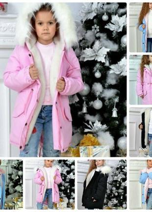 Тёплая детская зимняя парка на девочку с мехом енота и подкладкой