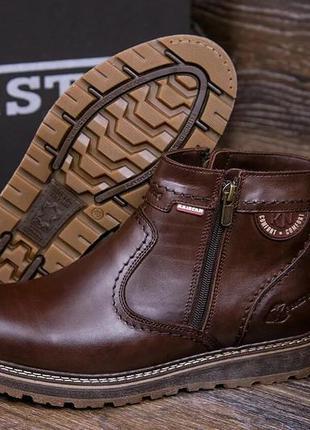 Мужские кожаные зимние ботинки kristan clasic brown