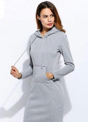 Женское спортивное платье из теплой трехнитки с начесом из флиса