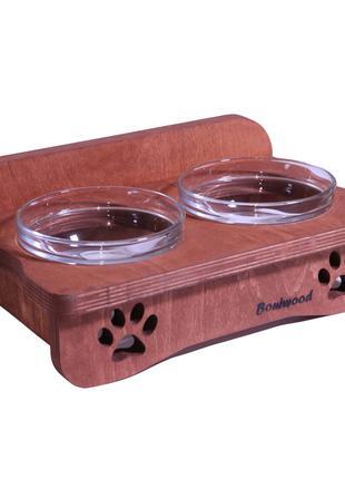 Деревянная миска для кошек или маленьких собак на две тарелочки