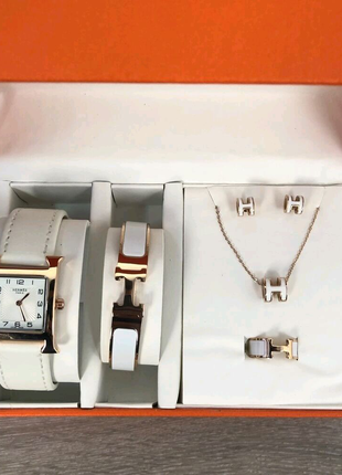 Подарочный Набор Hermes Bracelet/Watch/Earrings/Ring White