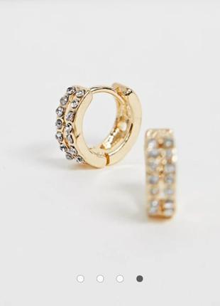 Серьги круглые с камнями в цвете золото asos