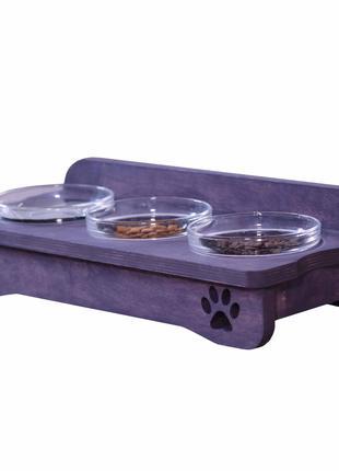 """Деревянная миска для кошек или маленьких собак на три тарелочки """""""