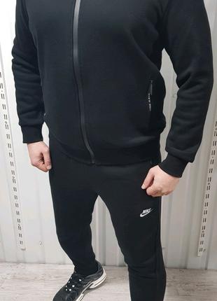 Мужской зимний тёплый спортивный костюм Nike на велюре