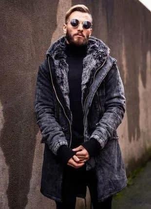 Мужская зимняя куртка парка с мехом, супер теплая