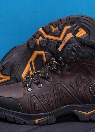 Мужские зимние кожаные ботинки columbia chocolate
