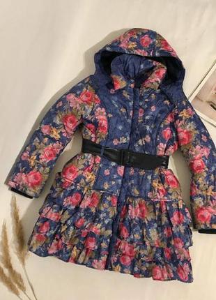 Красивое теплое пальто куртка в цветочный принт, 11-12 лет
