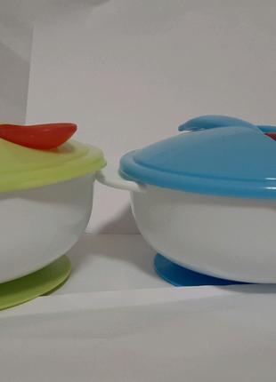 Детская посуда. Термоложка. Тарелка набор. Термопосуда. Присоска