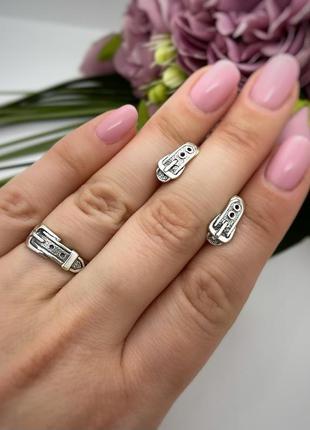Набор серебро 925 ремешок кольцо и серьги 2041 1071