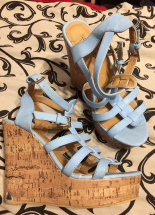 Celect голубые босоножки сандали на танкетке платформе 24-24.5 см