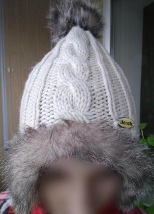 Белая вязаная шапочка bench/молодёжная модная шапка с косами и...
