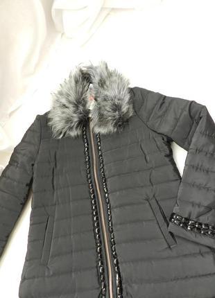 ✅  пальто евро зима с камнями и меховым воротником размер 46-46