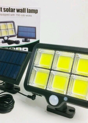 Лампа-фонарь LED с датчиком движения на солнечных батареях Black