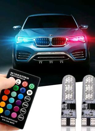 LED T10 W5W RGB с пультом дистанционного управления для габаритны