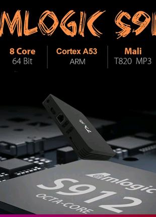 ⫸Smart TV Tx9s  2GB/8гб Amlogic s912 Android Box смарт ТВ пристав