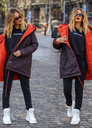 Стильная тёплая двухсторонняя женская куртка до больших размер...