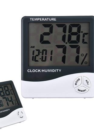 Электронный цифровой термометр гигрометр с выносным датчиком и ча