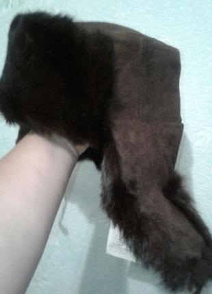 Шапка-ушанка новая мех кролика/натуральная кожа, норка