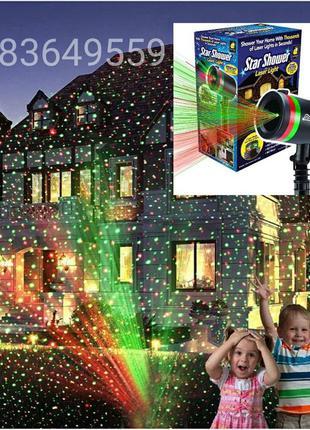 Мощный Лазерный проектор уличный гирлянда на дом праздничное о...