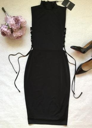 Платье вечернее коктейльное миди со шнуровкой missguided 10 ра...