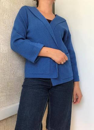 Вискозный кардиган/кофта с капюшоном в голубом цвете