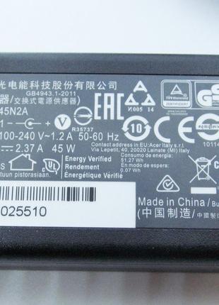Блок питания Acer 45W A13-045N2A 19V, 2.37A, разъем 5.5/1.7