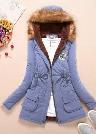 Разпродажа парка куртка голубая синяя деми сезон