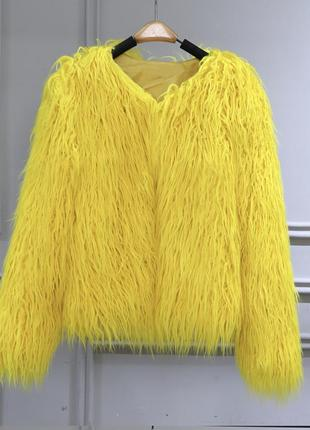 Шуба лама искусственный мех желтая цвет жёлтый