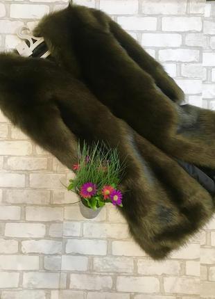Шуба зелёная лиса соболь искусственный мех эко мех